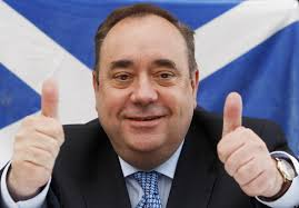 Alec Salmond Leader of SNP with two thumbs up